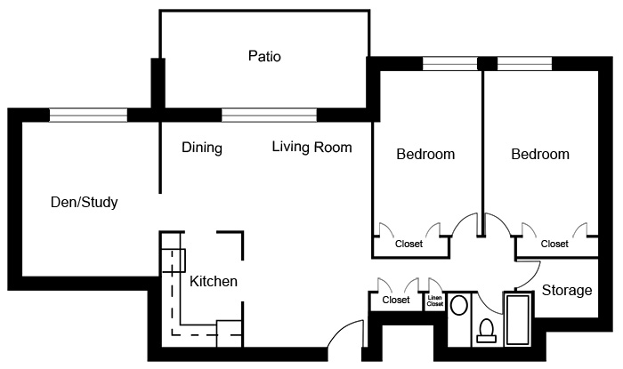 Chateau West - 2 Bedroom with Den